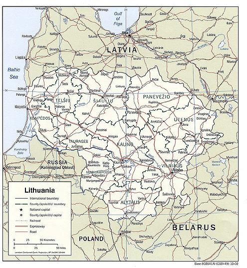 Politická mapa Litvy
