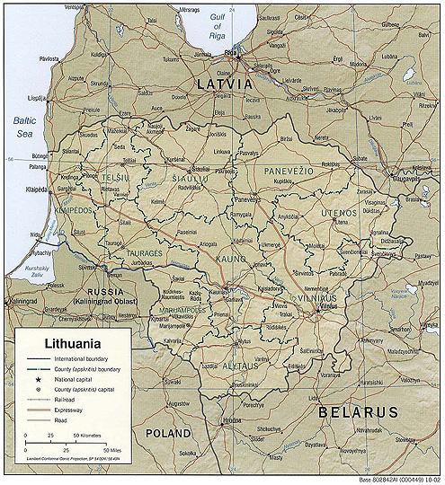 Mapa reliéfu Litvy