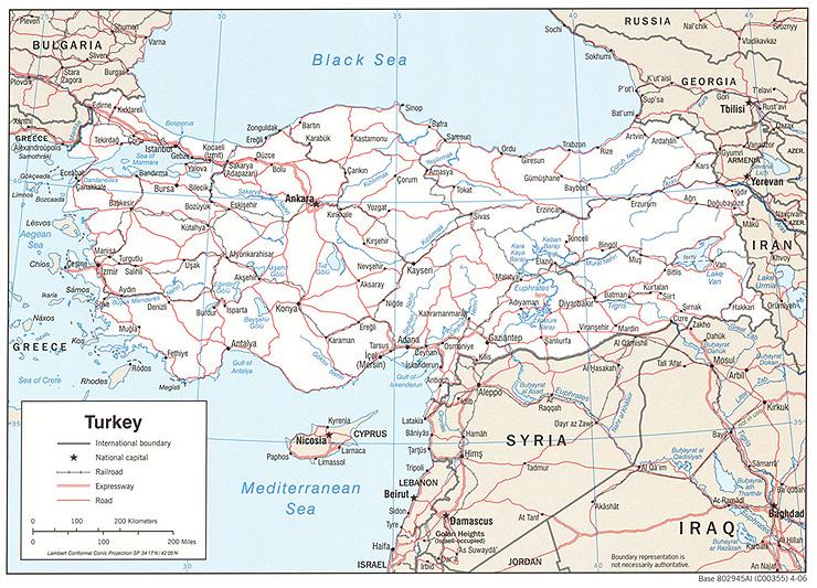 Politická mapa Turecka