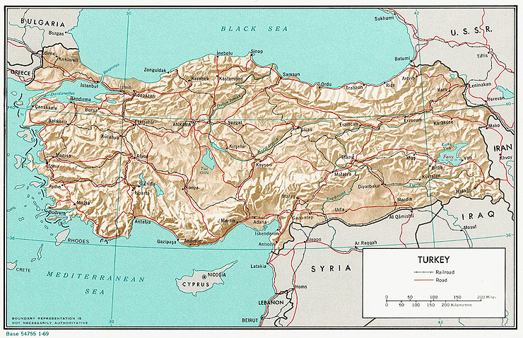 Mapa reliéfu Turecka