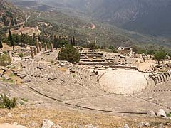 Delfy, pohled na archeologickou lokalitu