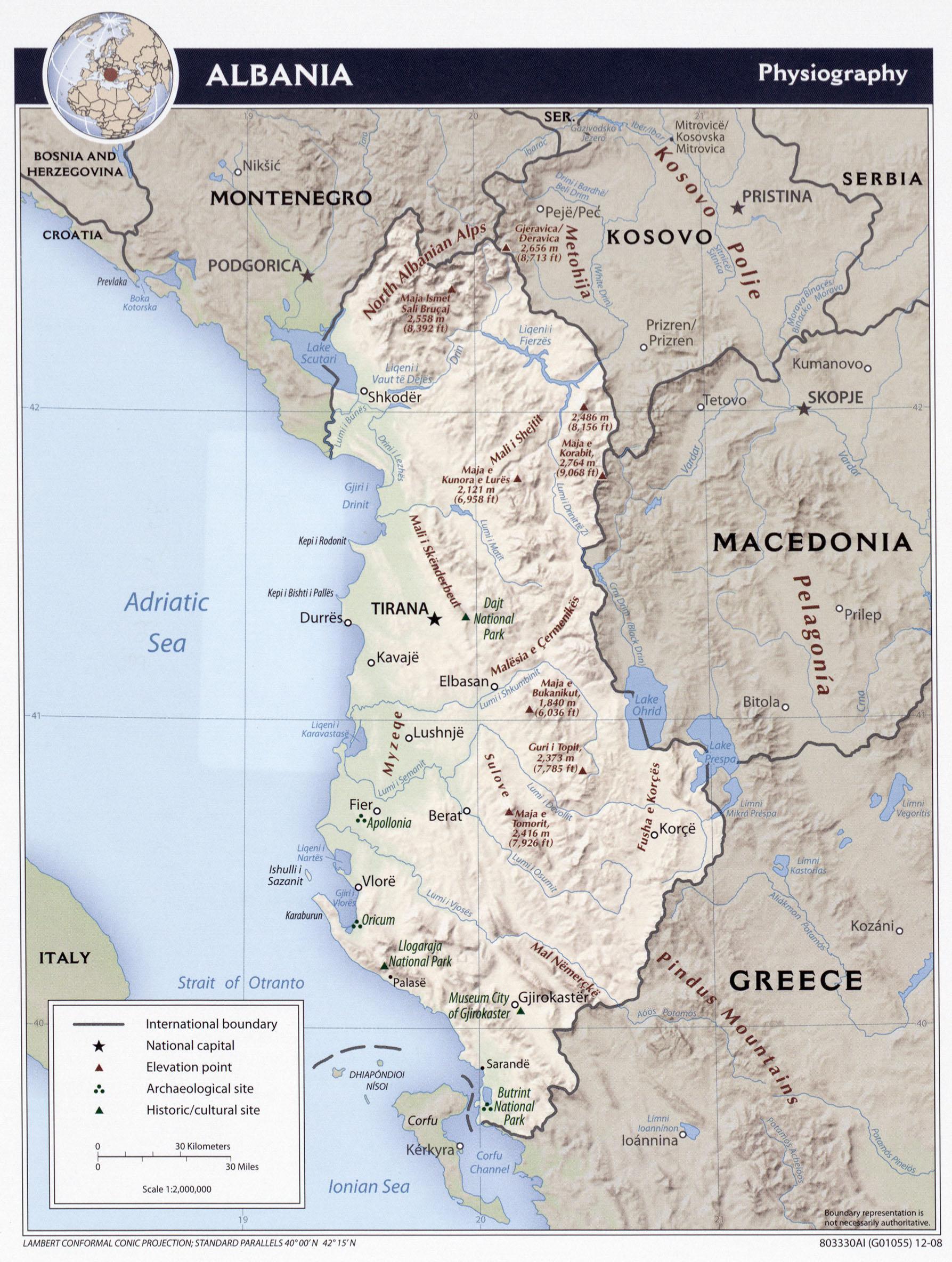 Mapa Albanie Ck Mundo