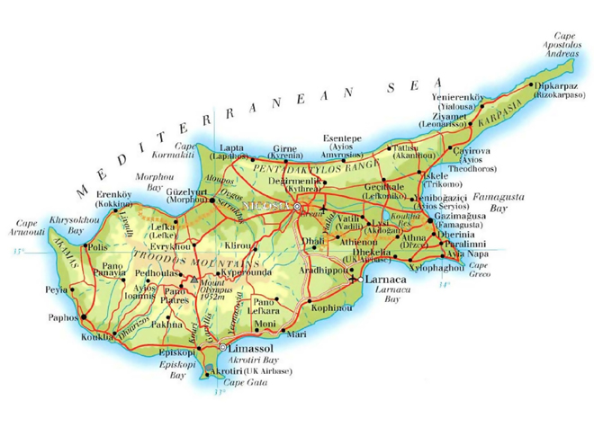 Mapa Turisticka Mapa Kypru