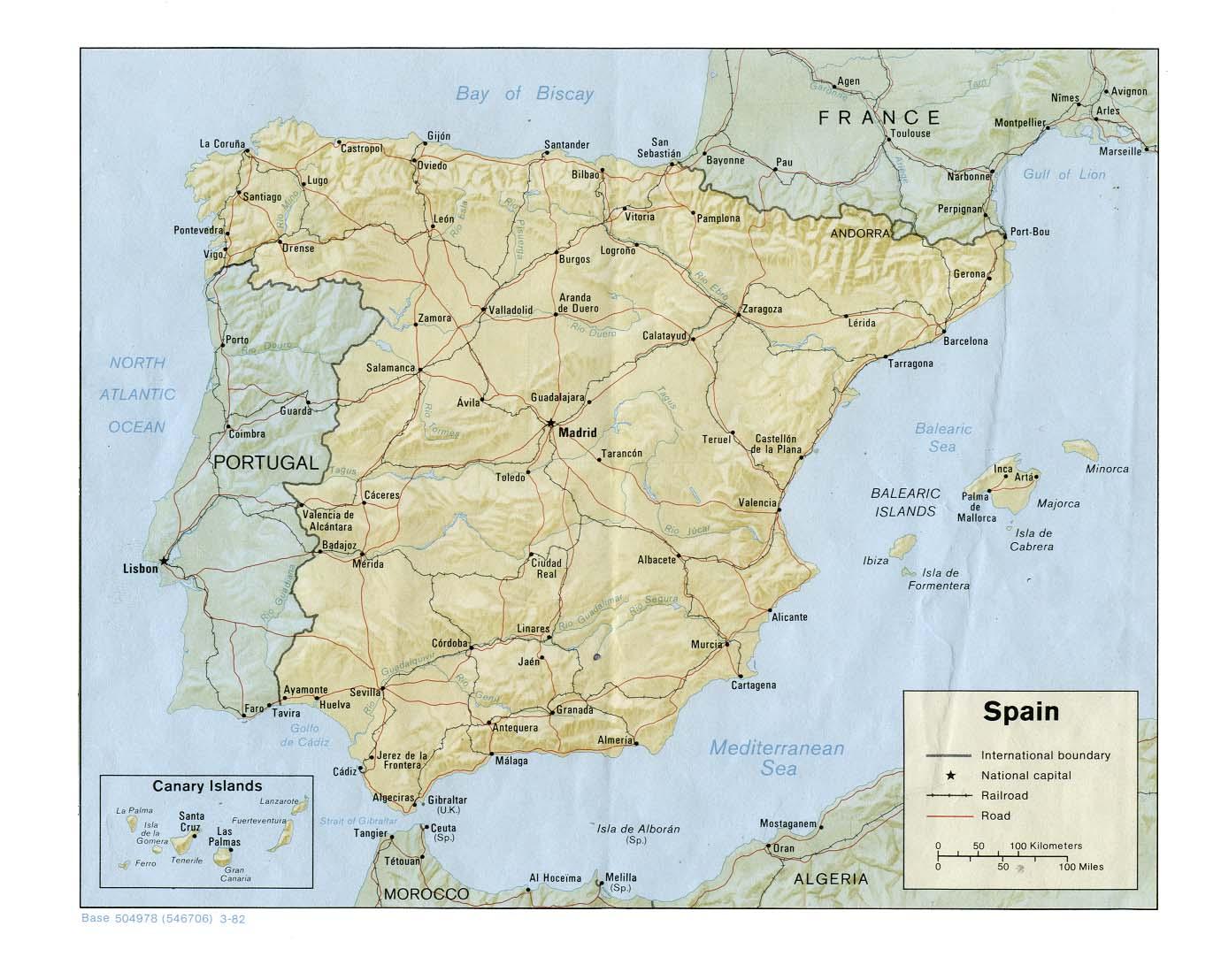 Spanelsko Mapa Spanelska Ck Mundo
