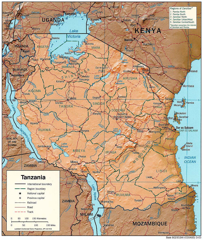 Tanzanie Mapa Tanzanie Ck Mundo