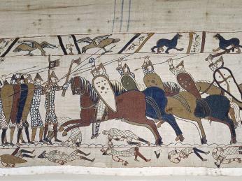 Tapisérie zBayeux, 70metrů dlouhá výšivka zhrubého lnu z11.století