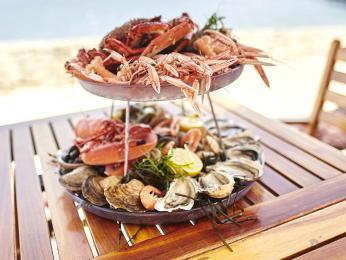 Různé druhy syrových i vařených mořských plodů plateau de fruits de mer