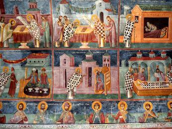 Fresky uvnitř pravoslavného monastýru Morača