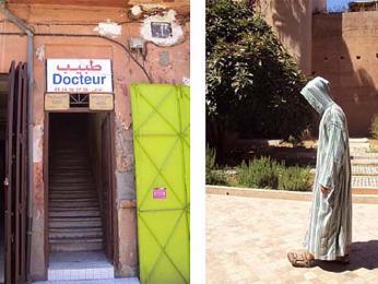 Ordinace marockého lékaře ajeden kráčející neznámý voblíbené džalabě