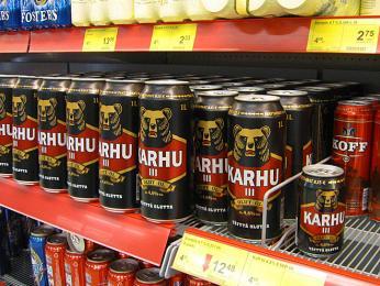 Oblíbený světlý ležák ve Finsku je pivo Karhu