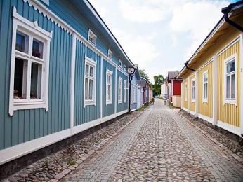 Dřevěné domy ve městě Rauma