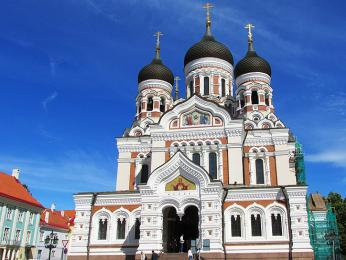 Pravoslavná katedrála Alexandra Něvského v centru Tallinnu