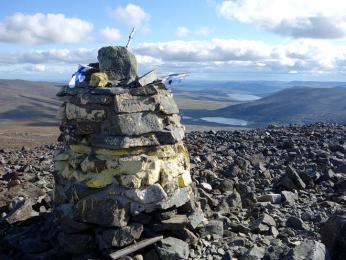 Hraniční kámen na nejvyšší hoře Haltitunturi