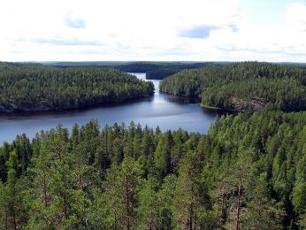 Jednotlivá jezera od sebe oddělují velké zalesněné plochy