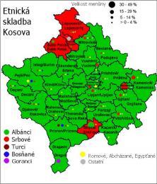 Mapa etnického složení Kosova