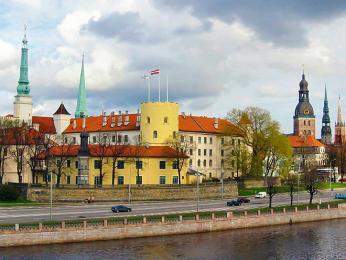 Hrad, na němž dnes sídlí lotyšský prezident