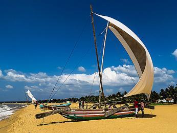 Písečná pláž na pobřeží Indického oceánu