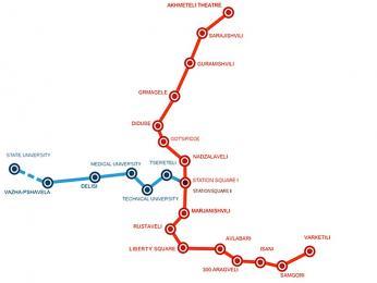 Metro v Tbilisi má pouze dvě linky
