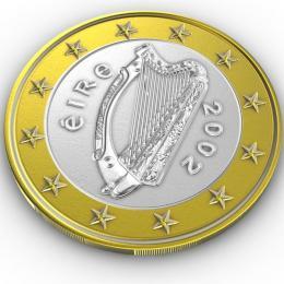 Rub irské euromince skeltskou harfou
