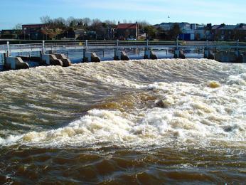 Jez Salmon Weir pomáhá lososům překonat kaskádovitý úsek řeky
