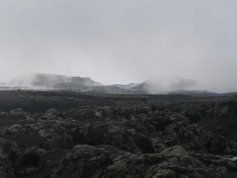 Krajina pod sopkou Eyjafjallajökull včervenci 2010