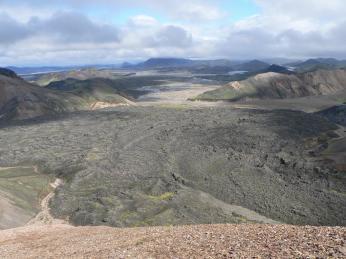 Lávový splaz voblasti Landmannalaugar