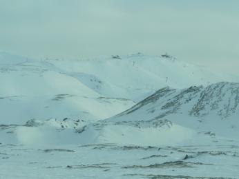 Lyžařské středisko Bláfjöll (Modré kopce) nedaleko Reykjavíku