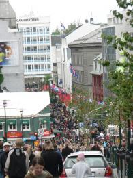 Centrum Reykjavíku na svátek 17.června