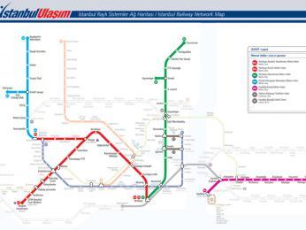 Mapa čtyř istanbulských linek metra