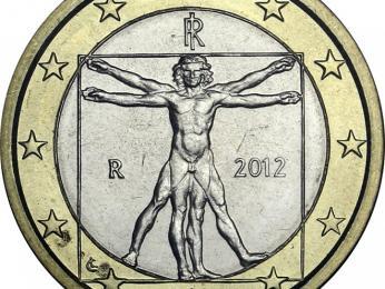 Italskou eurominci zdobí kresba Vitruviánského muže od Leonarda da Vinci