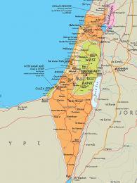 Mapa Izraele, Palestinských území aGolanských výšin