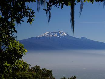 Silueta Kilimandžára sjeho typicky bílou čepicí
