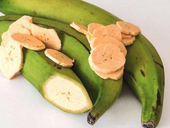 Zelený banán známý jako plantýn je součástí mnoha pokrmů