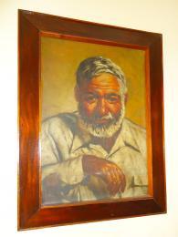 Obraz Ernesta Hemingwaye vrestauraci vCojímaru