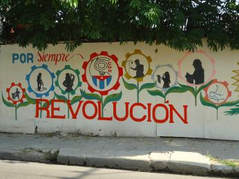 Nástěnná malba sheslem Revoluce navždy