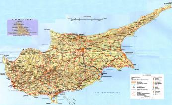 Geografická mapa Kypru