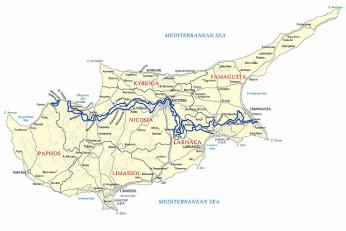 Mapa rozděleného Kypru