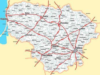 Mapa litevských dálnic