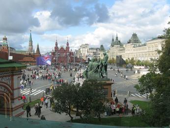 Výhled na Rudé náměstí zchrámu Vasila Blaženého
