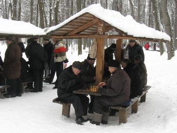 Šachové partie se vMoskvě hrají za každého počasí