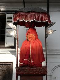 Bůh Hanumán střeží vchod do Královského paláce na náměstí Durbar