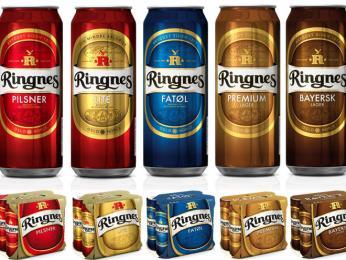 Různé druhy plechovkového piva ringnes