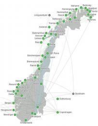 Mapa destinací letecké společnosti Widerøe