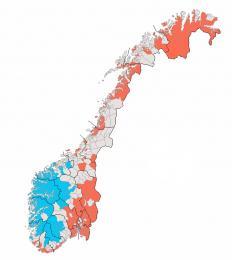Rozložení preferencí obou spisovných forem norštiny