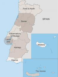 Portugalsko lze rozdělit do šesti hlavních částí a dvou autonomních oblastí