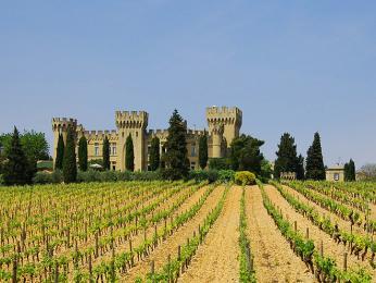 Papežská letní rezidence Châteauneuf-du-Pape v obklopení vinic