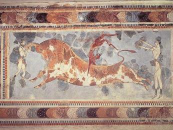 Mínojské umění, nástěnná malba zpaláce vKnossu