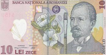 Rumunské plastové bankovky - jsou voděodolné anedají se přetrhnout. Bankovka 10 lei amalíř Grigorescu.