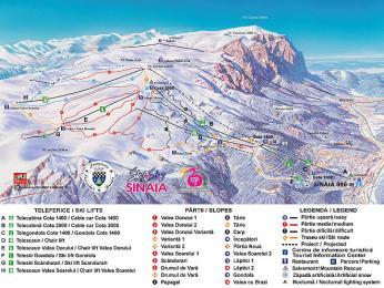 Mapa lyžařského areálu Sinaia, který patří mezi nejvyhlášenější vRumunsku