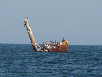 Vrak lodi poblíž rezervace 2 Mai – Vama Veche